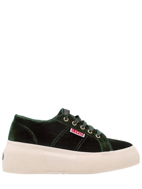 SUPERGA Lvr Editions Velvet Platform Sneakers in green