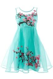 dress,mesh,green,aqua,pink,cherry blossom,skater dress