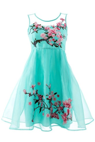 dress mesh green aqua pink cherry blossom skater dress