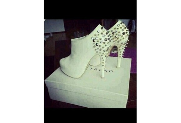 shoes studs high heels spikes spiked shoes white boots ankle boots studded boots