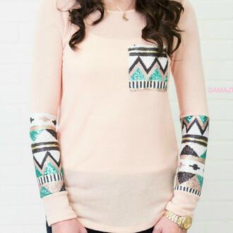 shirt tribal light pink amazinglace pocket sequins shirtt top