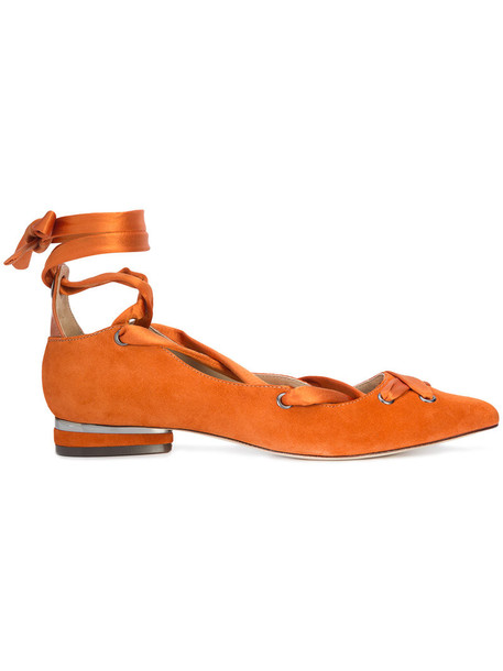 ZAC Zac Posen women leather suede yellow orange shoes