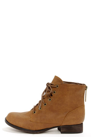 Cute Tan Boots - Lace-Up Boots - Ankle Boots - Vegan Leather Boots - $36.00