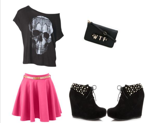 shirt skull top skull t-shirt belt wtf small purse black t-shirt black skull tee shoes black wedges pink skirt studded shoes