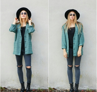 jacket indie turquoise fedora hat sunglasses knee hole jeans skinny jeans cute stylish style trendy outfit idea fashion inspo tumblr chill tumblr outfit tumblr top tumblr girl blogger fashionista rad on point clothing jeans cardigan clothes grunge grunge jacket squared coat top shoes hair accessory shirt ripped jeans vintage blue green carreaux chemise