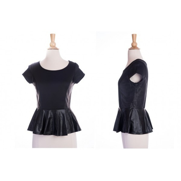Peplum Faux Leather Top 2 Colors - Polyvore