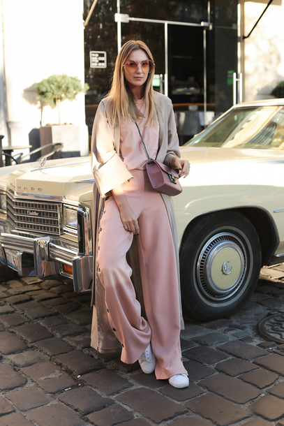 fashionagony blogger t-shirt shoes sunglasses pants duster coat tumblr wide-leg pants pink pants sweater pink sweater coat sneakers bag pastel pastel pink