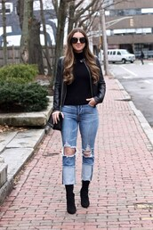 lamariposa,blogger,jacket,sweater,jeans,shoes,bag,sunglasses,leather jacket,ankle boots