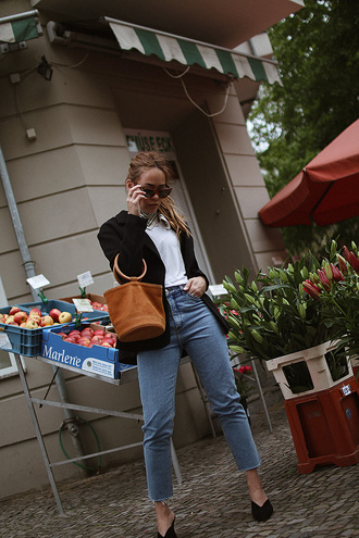 teetharejade blogger sunglasses jacket jeans bag brown bag blazer black blazer spring outfits simon miller bag