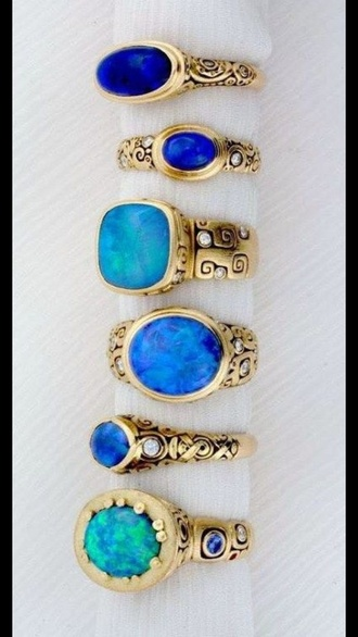 jewels turquoise ring metal ring patterned rings opal jewelry set