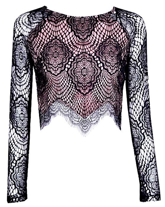 Sexy Sheer Lace Eyelash Asymmetric Long Sleeve Crop Top - More Colors