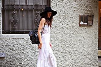 white dress embroidered long white dress white maxi dress hippie boho bohemian dress black hat wide brim hat gypsy gypsy dress eyelet dress
