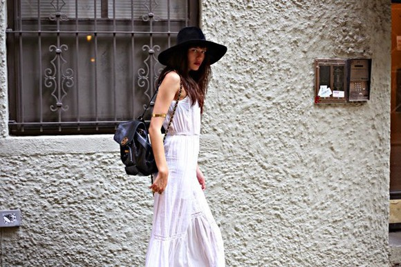 black hat long white dress white maxi dress hippie boho bohemian dress wide brim hat gypsy gypsy dress white dress embroidered eyelet dress