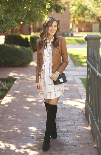 sophistifunk by brie bemis rearick | a personal style + beauty blog blogger dress jacket shoes bag brown leather jacket crossbody bag fall outfits thigh high boots mini dress