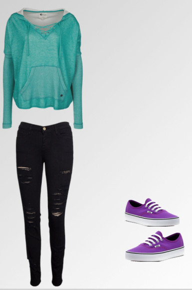 adorable casual jeans blue hoodie greenish black jeans ripped jeans purple shoes black ripped jeans