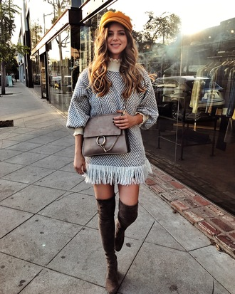 take aim blogger dress hat bag shoes tumblr mini dress fringes fringed dress knit knitwear knitted dress grey dress fisherman cap boots over the knee boots over the knee