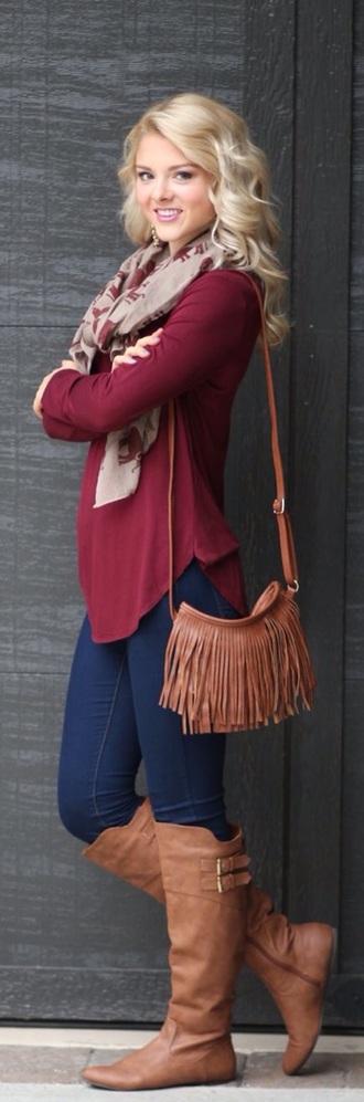 boots brown boots bag fringes scarf burgundy