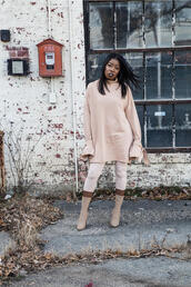 locks and trinkets,blogger,sweater,dress,leggings,shoes,pink sweater,pink boots,winter outfits