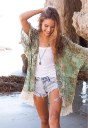 shorts,High waisted shorts,high waisted denim shorts,kimono,floral,ripped,ripped shorts,jacket,cardigan,clothes,burnout,velvet,embellished,embroidered,beach,pale green cardigan,blouse