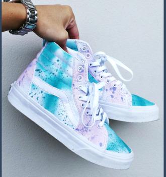 shoes spraypainted high top sneakers white shoes purple splatter paint pastel vans sneakers white blue vans custom shoes