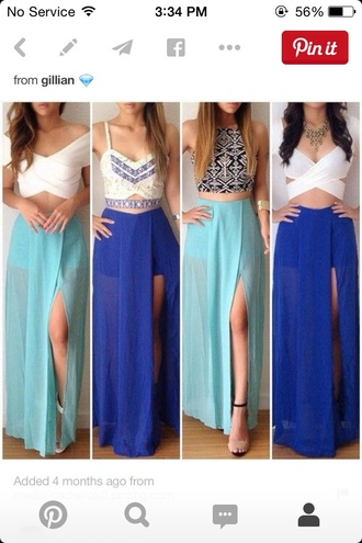 top blue skirt crop tops blouse skirt