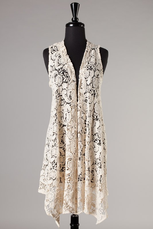 Beloved Cream Lace Sleeveless Long Cardigan