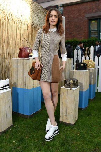 dress shoes lily collins mini dress spring outfits spring dress