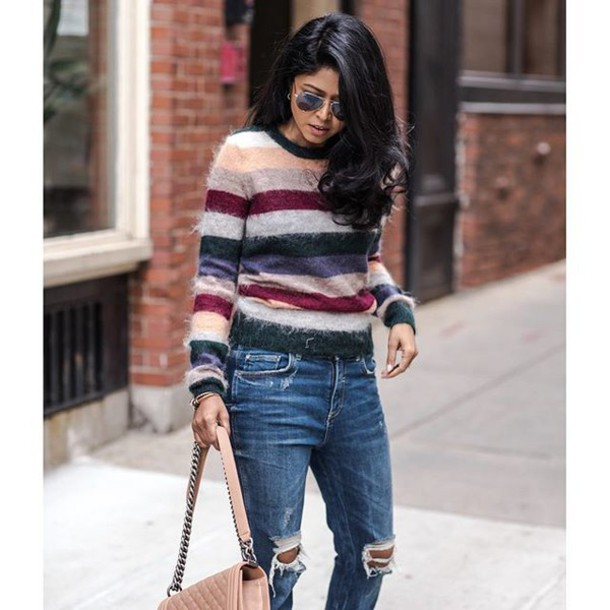 sweater tumblr stripes striped sweater denim jeans ripped jeans aviator sunglasses fuzzy sweater fall outfits fall colors blogger walk in wonderland