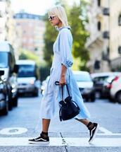 lefashion,blogger,sunglasses,dress,bag,socks,blue dress,vans,mesh socks,bucket bag,summer outfits