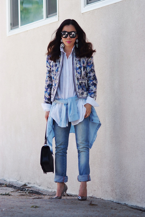 hallie daily sunglasses jacket jeans shoes shirt jewels bag