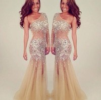 Stunning beaded one long sleeve homecoming dresses, evening dresses, prom dresses 2014, mermaid evening gown