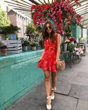 dress,floral dress,short dress,red dress,shoes,bag,sunglasses