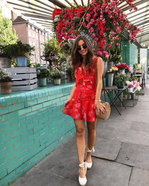 dress floral dress short dress red dress shoes bag sunglasses