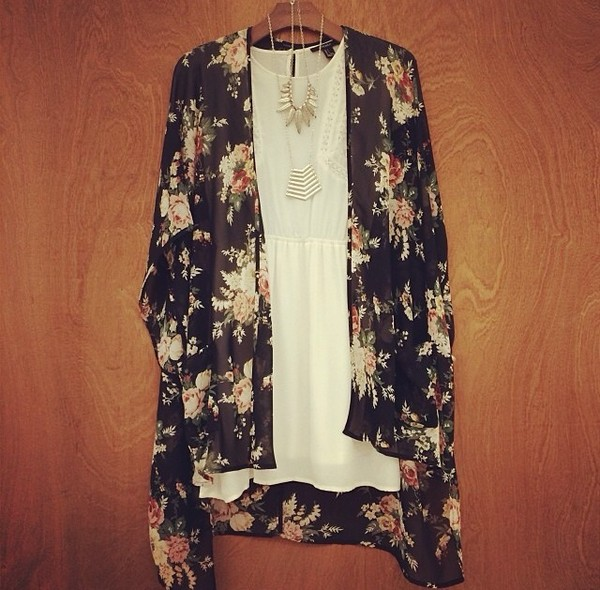 sweater kimono sheer flowers