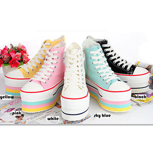 (5) NEW CANVAS PLATFORM & WEDGES HEEL SNEAKERS RAINBOW 5COLORS US SIZE 5.5 ~ 8 | eBay