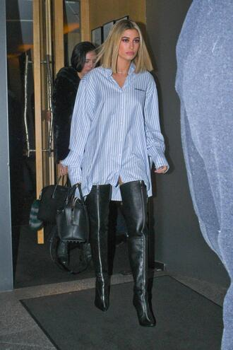 shirt boots over the knee boots hailey baldwin model off-duty london fashion week 2018 fashion week oversized