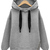 Grey Hooded Long Sleeve Drawstring Loose Sweatshirt - Sheinside.com
