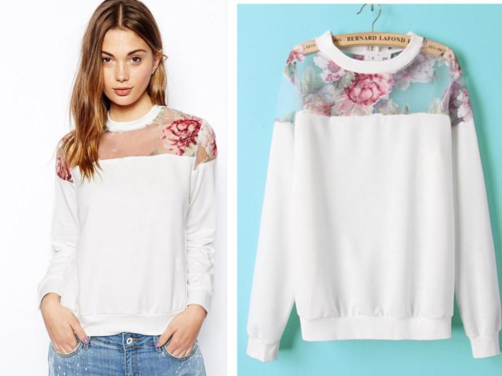 Neue Frühjahr 2014 mode frauen organza patchwork langarm pullover sweatshirts casual pullover sportkleidung in von auf Aliexpress.com