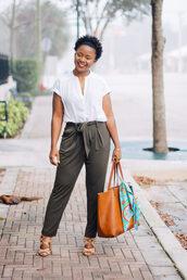 pinksole,blogger,jewels,pants,top,shoes,bag,scarf,tote bag,orange bag,sandals,khaki pants,spring outfits