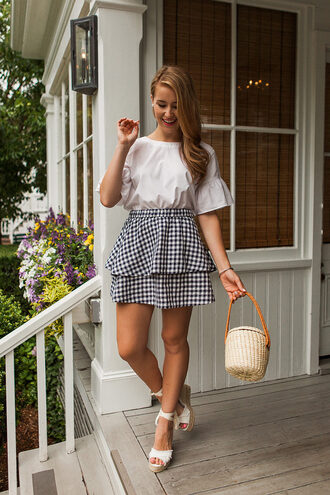 a lonestar state of southern blogger top skirt shoes bag jewels basket bag wedge sandals summer outfits mini skirt