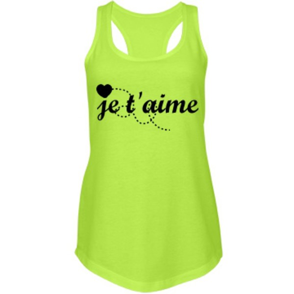 tank top racerback je t'aime lovely heart