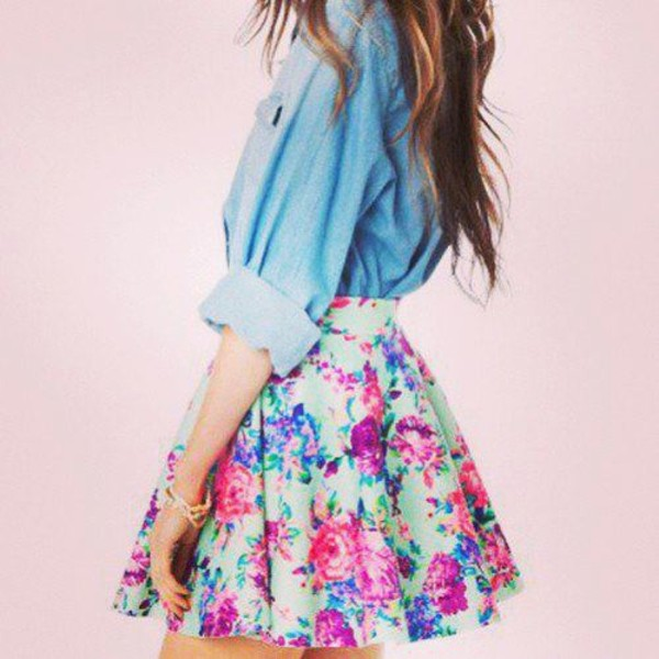 denim jacket denim top floral skirt mini skirt mint skirt blouse jeans blouse top floral cute