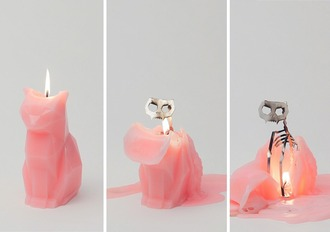 home accessory cats candle melting skull pink kawaii cute rad cool burning