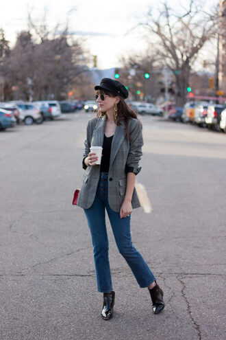 jeans and a teacup blogger jacket jeans sweater shoes hat jewels bag sunglasses fall outfits blazer grey jacket red bag booties ankle boots