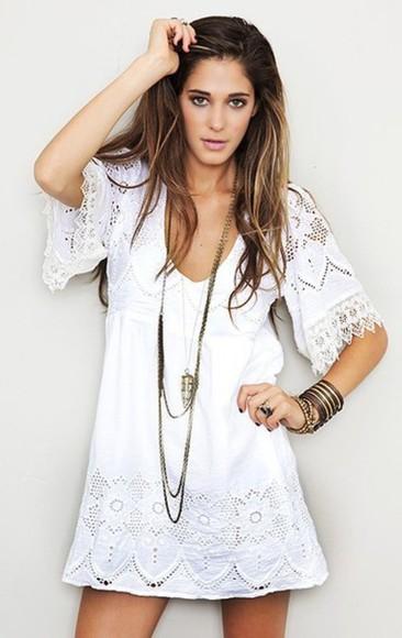 vintage white hippie crochet boho festival dress