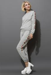sweater,jewelry embellished,tracksuit,grey