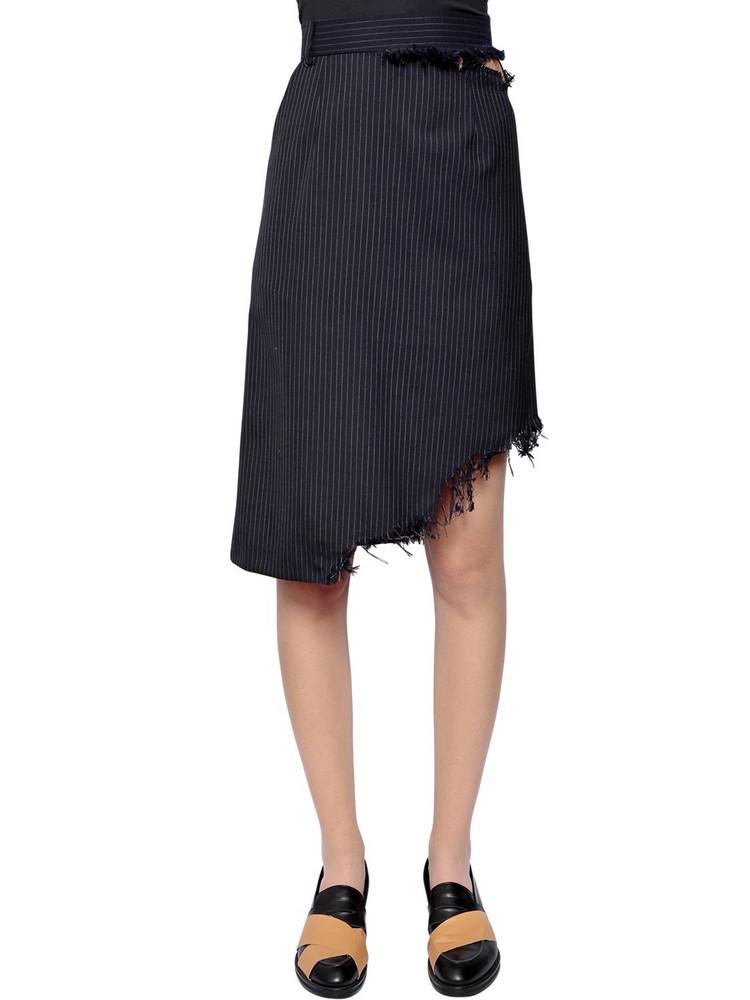 FACETASM Asymmetrical Pinstriped Wool Skirt in navy
