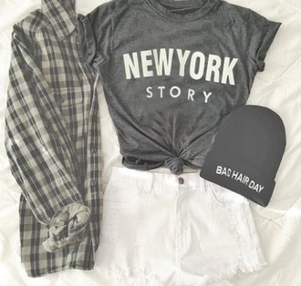 jacket new york city new york story summer shorts denim style new york shirt shorts white shorts beanie bad hair day hat t-shirt flannel grey top black hipster fall outfits white hair accessory custom beanie story grey shirt hat
