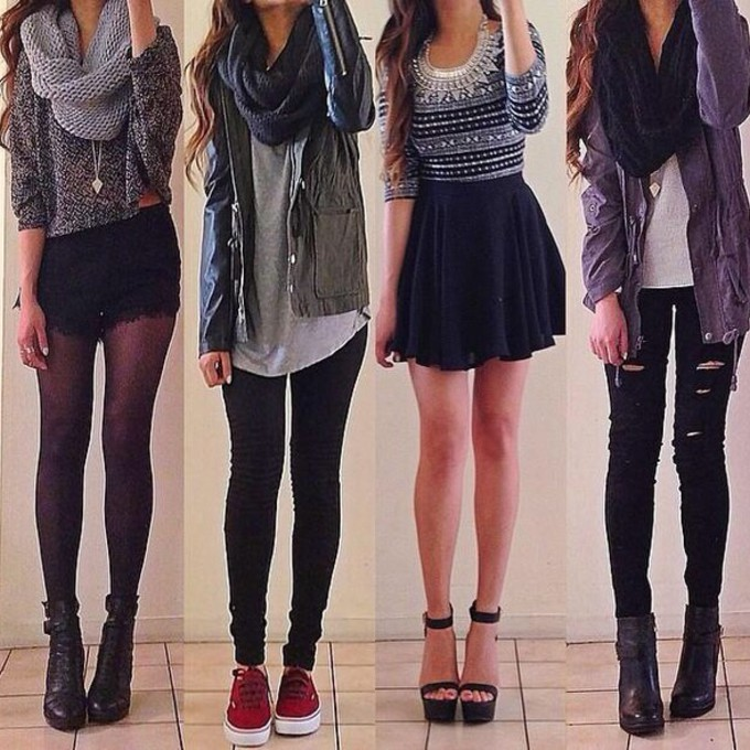 jacket skirt red lime sunday jeans top scarf fashion socks fall outfits cute cardigan scarf red