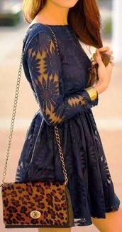 dress,bag,blue,blue dress,flowers,lace,lace dress,navy,lace arms,elegant,navy dress,floral,floral lace dress,blue lace dress